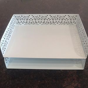 Container Store White Metal Paper Tray